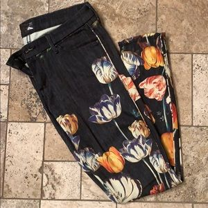 MOTHER The Looker Tulip pattern denim